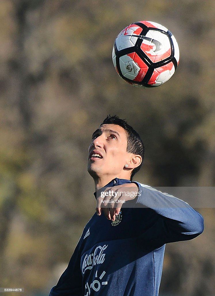 Angel Di Maria in action during a training session at Argentine Football Association (AFA) 'Julio Humberto Grondona' training camp on May 24, 2015 in Ezeiza, Argentina. Argentina will face Honduras on May 27, 2015.