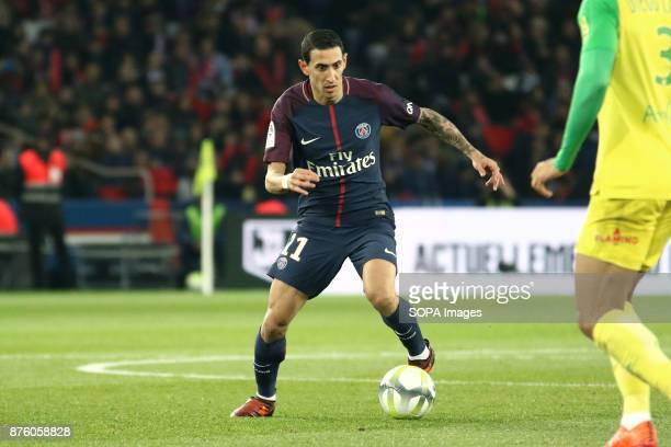 Angel Di Maria in action during the French Ligue 1 soccer match between Paris Saint Germain and FC Nantes at Parc des Princes