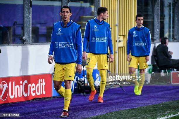 Angel Di Maria Julian Draxler and Giovani Lo Celso during the UEFA Champions League match between RSC Anderlecht and Paris SaintGermain at Constant...