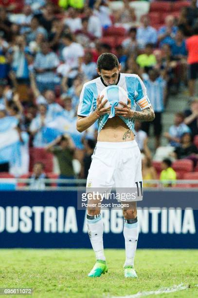 Angel Di Maria of Argentina celebrates after scoring his goal during the International Test match between Argentina and Singapore at National Stadium...
