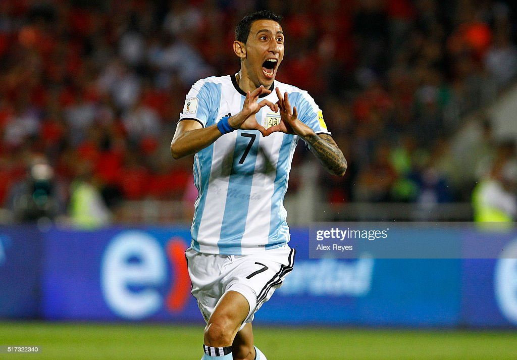 <a gi-track='captionPersonalityLinkClicked' href=/galleries/search?phrase=Angel+Di+Maria&family=editorial&specificpeople=4110691 ng-click='$event.stopPropagation()'>Angel Di Maria</a> of Argentina celebrates after scoring the first goal his team during a match between Chile and Argentina as part of FIFA 2018 World Cup Qualifiers at Nacional Stadium on March 24, 2016 in Santiago, Chile.