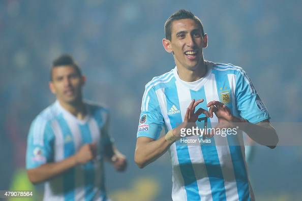 Angel di Maria of Argentina celebrates after scoring the fourth goal of his team during the 2015 Copa America Chile Semi Final match between...