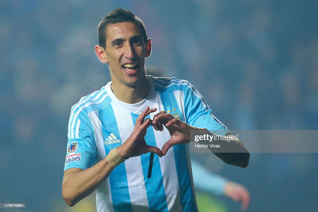 Angel di Maria of Argentina celebrates after scoring the fourth goal of his team during the 2015 Copa America Chile Semi Final match between Argentina and Paraguay at Ester Roa Rebolledo Stadium on June 30, 2015 in Concepcion, Chile.