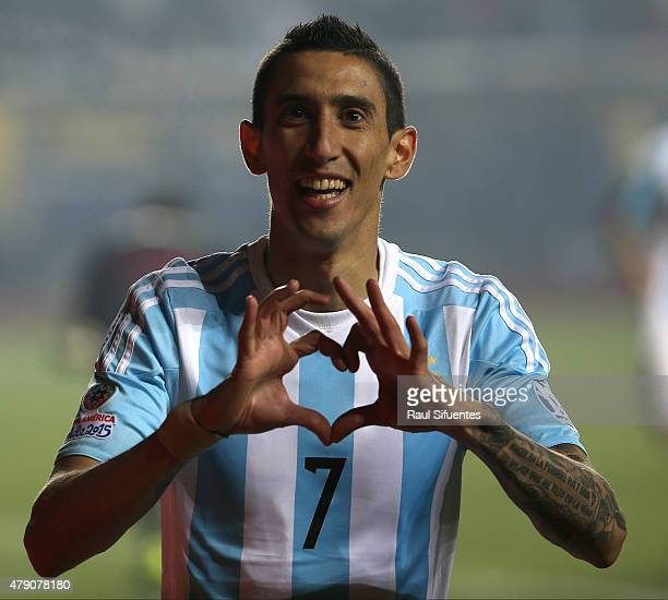 Angel di Maria of Argentina celebrates after scoring the third goal of his team during the 2015 Copa America Chile Semi Final match between Argentina...