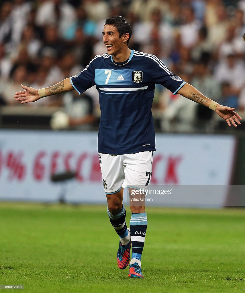 Angel di Maria of Argentina celebrates his team's third goal during the international friendly match between Germany and Argentina at Commerzbank-Arena on August 15, 2012 in Frankfurt am Main, Germany.