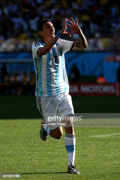 Angel di Maria of Argentina celebrates scoring his team's first goal in extra time during the 2014 FIFA World Cup Brazil Round of 16 match between...