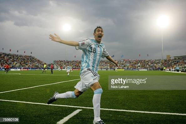 Angel Di Maria of Argentina celebrates scoring the first goal against Chile during their semifinal game at the Fifa U20 World Cup Canada 2007 at the...
