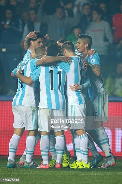 Angel di Maria of Argentina celebrates with teammates after scoring the third goal of his team during the 2015 Copa America Chile Semi Final match...
