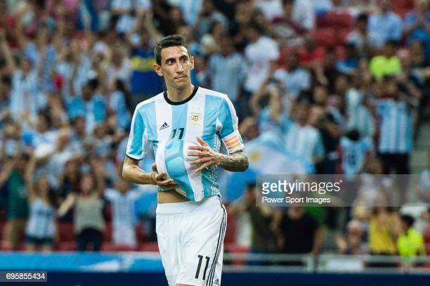 Angel Di Maria of Argentina celebrating his score during the International Test match between Argentina and Singapore at National Stadium on June 13...