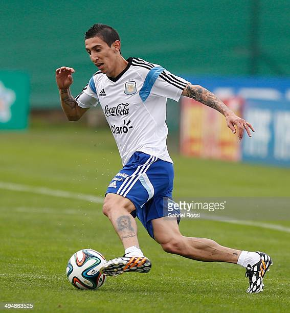 Angel Di Maria of Argentina drives the ball during an Argentina training session at Ezeiza Training Camp on May 31 2014 in Ezeiza Argentina