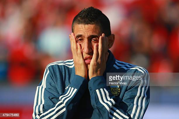 Angel di Maria of Argentina gestures during the national anthem ceremony prior the 2015 Copa America Chile Final match between Chile and Argentina at...