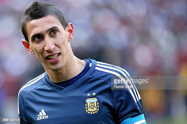 Angel di Maria of Argentina in action against El Salvador during an International Friendly at FedExField on March 28 2015 in Landover Maryland