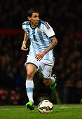 Angel Di Maria of Argentina in action during the International Friendly match between Argentina and Portugal at Old Trafford on November 18 2014 in...