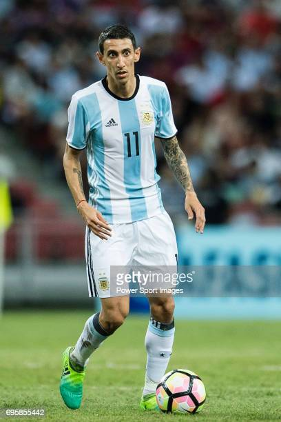 Angel Di Maria of Argentina in action during the International Test match between Argentina and Singapore at National Stadium on June 13 2017 in...