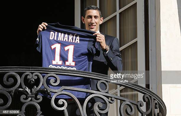 Angel Di Maria of Argentina is presented as new player of Paris SaintGermain during a press conference and jersey presentation at ShangriLa hotel on...