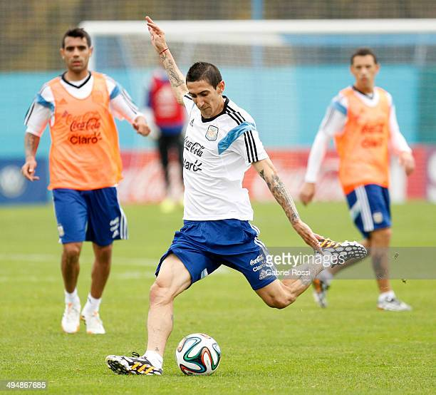 Angel Di Maria of Argentina kicks the ball during an Argentina training session at Ezeiza Training Camp on May 31 2014 in Ezeiza Argentina