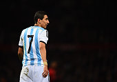 Angel Di Maria of Argentina looks on during the International Friendly match between Argentina and Portugal at Old Trafford on November 18 2014 in...