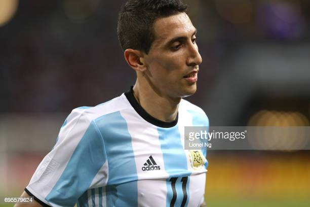 Angel Di Maria of Argentina looks on during the international friendly match between Argentina and Singapore at National Stadium on June 13 2017 in...