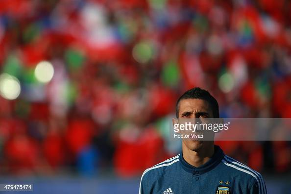 Angel di Maria of Argentina looks on during the national anthem ceremony prior the 2015 Copa America Chile Final match between Chile and Argentina at...