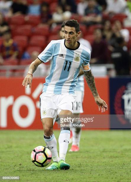 Angel Di Maria of Argentina looks to pass during the International Test match between Argentina and Singapore at National Stadium on June 13 2017 in...
