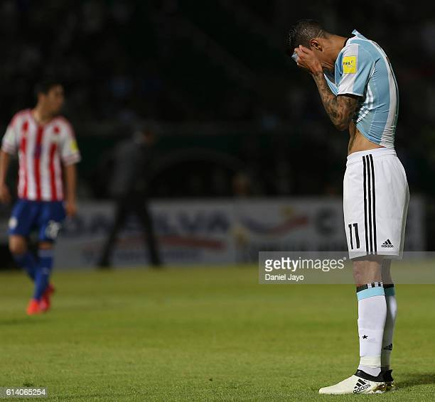 Angel Di Maria of Argentina reacts after missing a chance to score during a match between Argentina and Paraguay as part of FIFA 2018 World Cup...