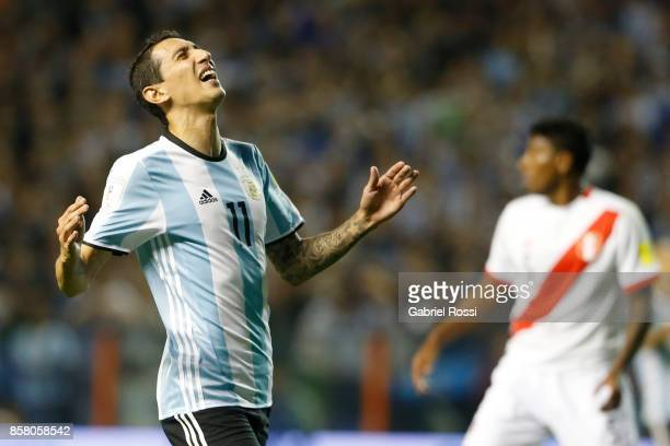Angel Di Maria of Argentina reacts during a match between Argentina and Peru as part of FIFA 2018 World Cup Qualifiers at Estadio Alberto J Armando...