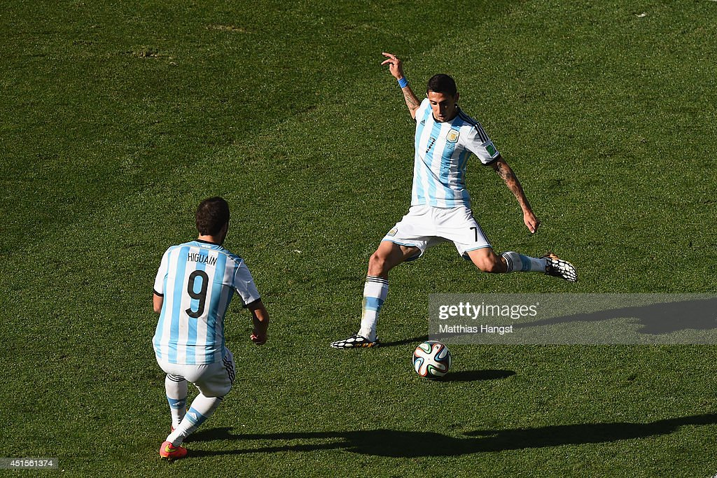 Angel di Maria of Argentina scores his team's first goal in extra time during the 2014 FIFA World Cup Brazil Round of 16 match between Argentina and Switzerland at Arena de Sao Paulo on July 1, 2014 in Sao Paulo, Brazil.