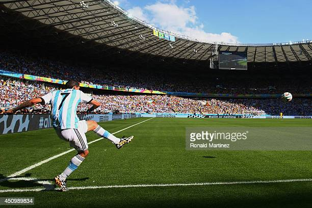 Angel di Maria of Argentina takes a corner kick during the 2014 FIFA World Cup Brazil Group F match between Argentina and Iran at Estadio Mineirao on...