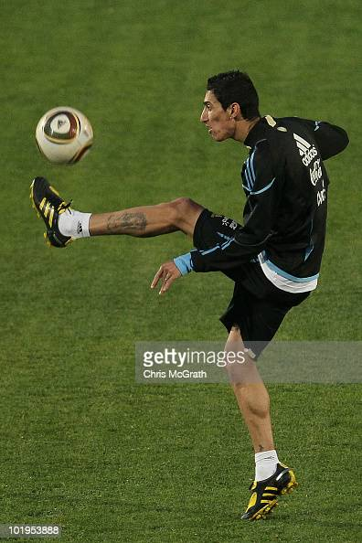 Angel Di Maria of Argentina's national football team handles the ball during a team training session on June 10 2010 in Pretoria South Africa