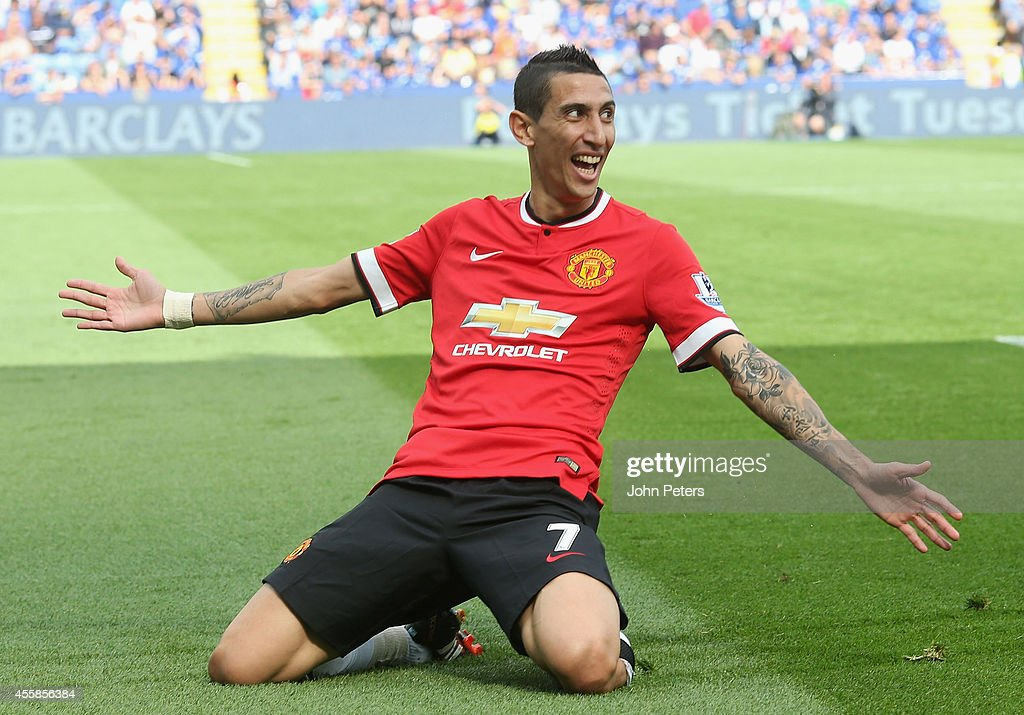Angel di Maria of Manchester United celebrates scoring their second goal during the Barclays Premier League match between Leicester City and Manchester United at The King Power Stadium on September 21, 2014 in Leicester, England.