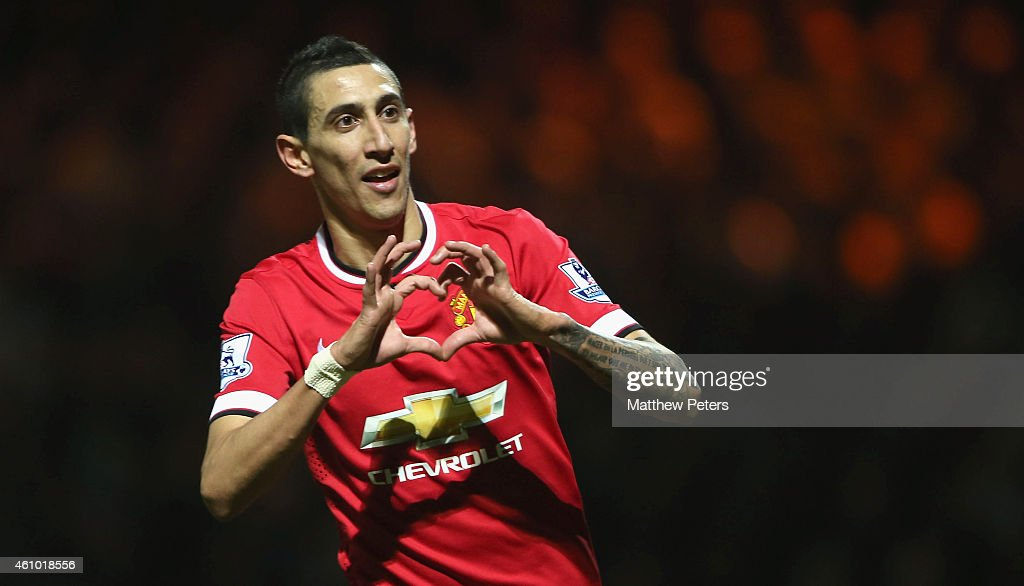 Angel di Maria of Manchester United celebrates scoring their second goal during the FA Cup Third Round match between Yeovil Town and Manchester United at Huish Park on January 4, 2015 in Yeovil, England.
