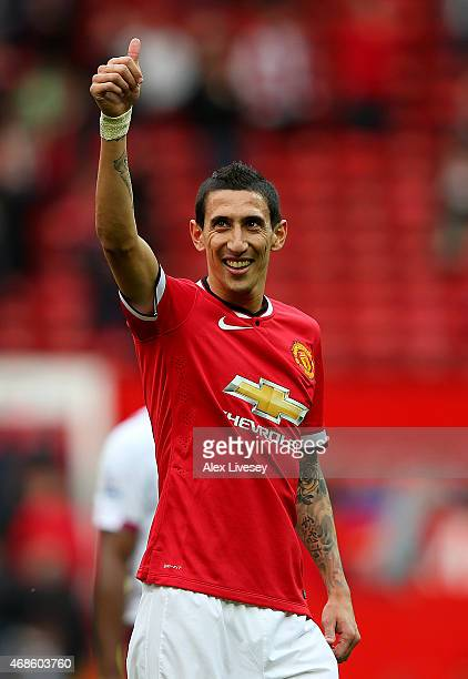 Angel di Maria of Manchester United gives a thumbs up to the crowd after the Barclays Premier League match between Manchester United and Aston Villa...