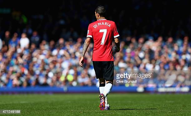 Angel Di Maria of Manchester United in action during the Barclays Premier League match between Everton and Manchester United at Goodison Park on...