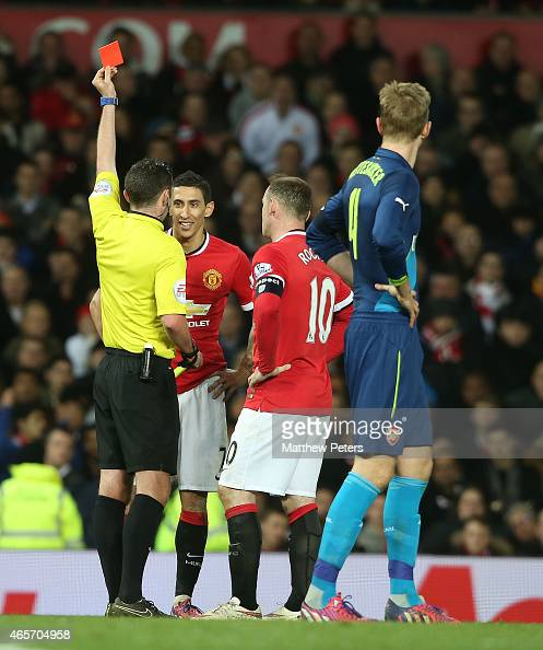 Angel di Maria of Manchester United is sent off by Referee Michael Oliver during the FA Cup Quarter Final match between Manchester United and Arsenal...