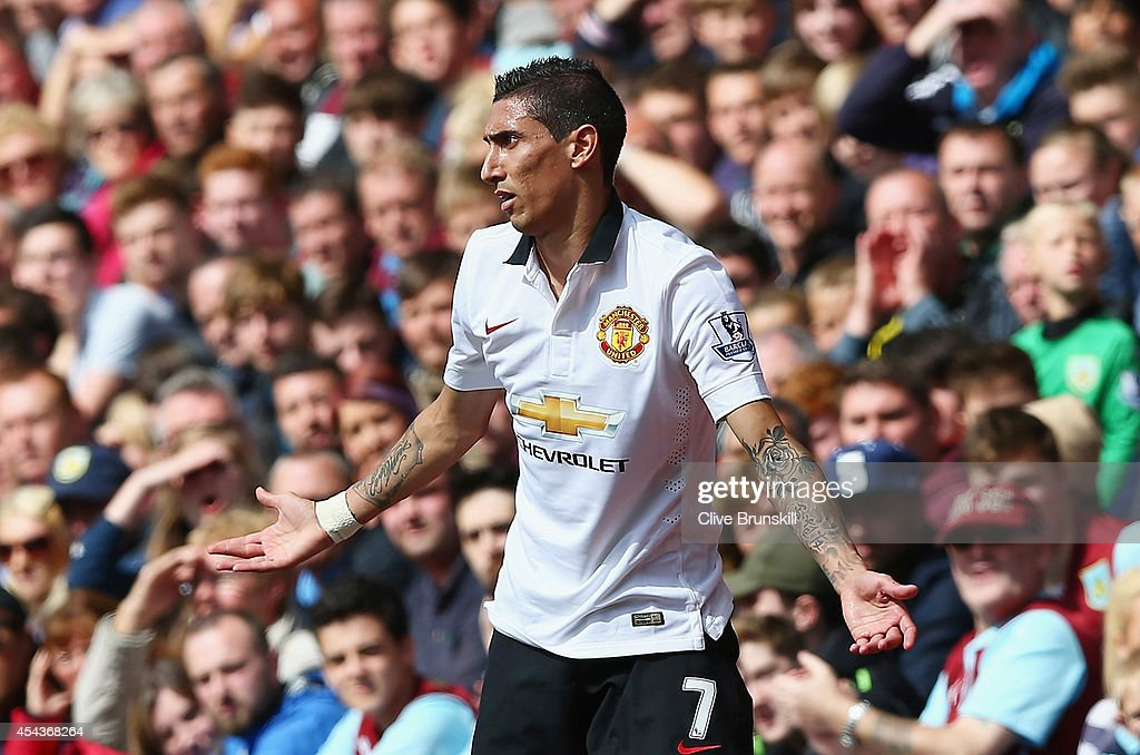 Angel di Maria of Manchester United reacts after being fouled during the Barclays Premier League match between Burnley and Manchester United at Turf Moor on August 30, 2014 in Burnley, England.