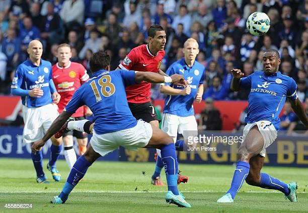 Angel di Maria of Manchester United scores their second goal during the Barclays Premier League match between Leicester City and Manchester United at...