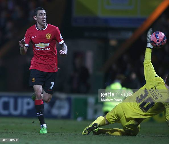 Angel di Maria of Manchester United scores their second goal during the FA Cup Third Round match between Yeovil Town and Manchester United at Huish...