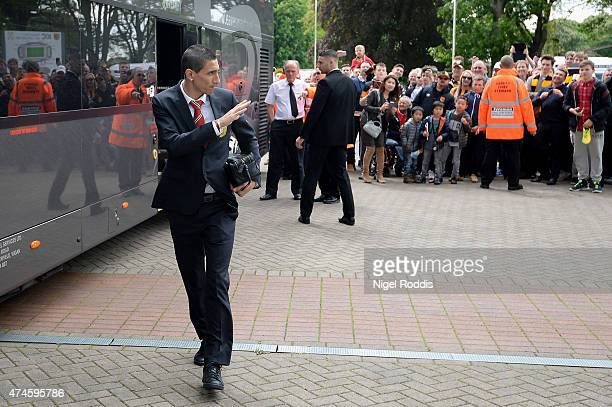 Angel di Maria of Manchester United waves to the fans on arrival at the stadium prior to the Barclays Premier League match between Hull City and...