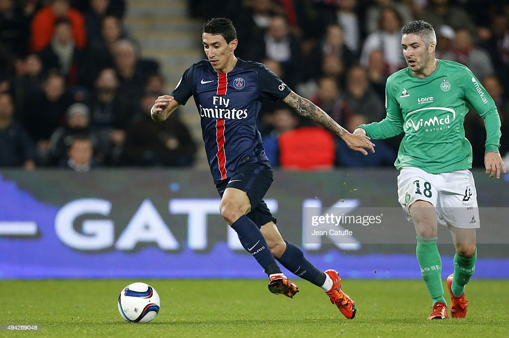 <a gi-track='captionPersonalityLinkClicked' href=/galleries/search?phrase=Angel+Di+Maria&family=editorial&specificpeople=4110691 ng-click='$event.stopPropagation()'>Angel Di Maria</a> of Paris Saint-Germain and <a gi-track='captionPersonalityLinkClicked' href=/galleries/search?phrase=Fabien+Lemoine&family=editorial&specificpeople=4784581 ng-click='$event.stopPropagation()'>Fabien Lemoine</a> of Saint-Etienne in action during the French Ligue 1 match between Paris Saint-Germain (PSG) and AS Saint-Etienne (ASSE) at Parc des Princes stadium on October 25, 2015 in Paris, France.