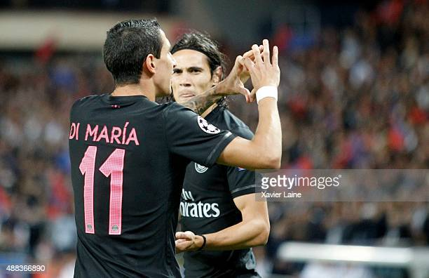 Angel Di Maria of Paris SaintGermain celebrate his goal with Edinson Cavani during the UEFA Champions League between Paris SaintGermain and Malmo FF...