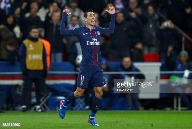 Angel Di Maria of Paris SaintGermain celebrates after scoring his team's third goal during the UEFA Champions League Round of 16 first leg match...