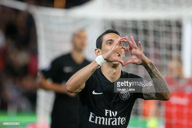 Angel Di Maria of Paris SaintGermain celebrates his goal during the UEFA Champions League between Paris SaintGermain and Malmo FF at Parc Des Princes...