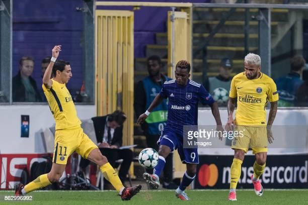Angel Di Maria of Paris SaintGermain Henry Onyekuru of RSC Anderlecht Daniel Alves da Silva of Paris SaintGermain3 during the UEFA Champions League...