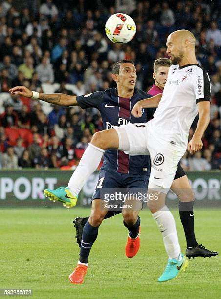 Angel Di Maria of Paris SaintGermain in action during the French Ligue 1 match between Paris SaintGermain and FC Metz at Parc des Princes on August...