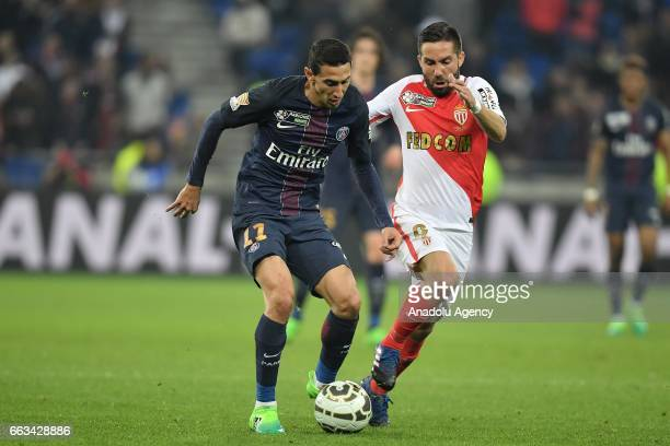 Angel Di Maria of Paris SaintGermain in action during the French League Cup final football match between AS Monaco and Paris SaintGermain at the...