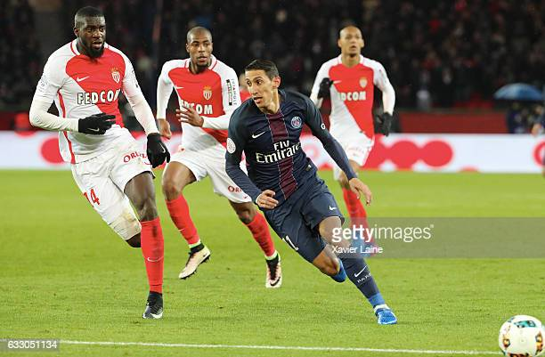 Angel Di Maria of Paris SaintGermain in action with Tiemoue Bakayoko of AS Monaco during the French League 1 match between Paris SaintGermain and AS...