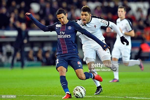 Angel Di Maria of Paris SaintGermain kicks the ball during the French League match between Paris SaintGermain and FC Metz at Parc des Princes on...