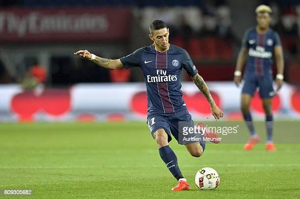 Angel Di Maria of Paris SaintGermain kicks the ball during the Ligue 1 match between Paris SaintGermain and Dijon FCO at Parc des Princes on...