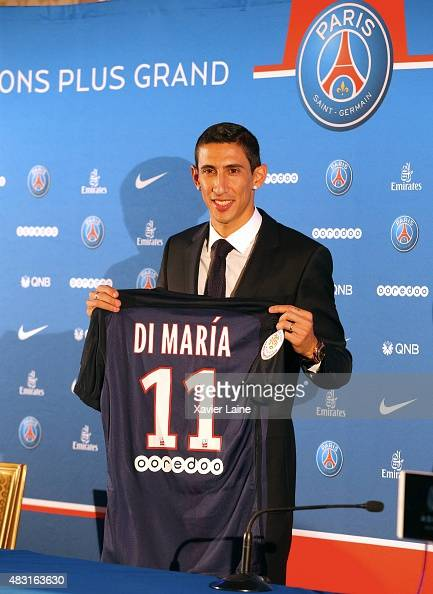 Angel Di Maria of Paris SaintGermain pose during his official presentation after signing for PSG at ShangriLa Hotel Paris on August 6 2015 in Paris...