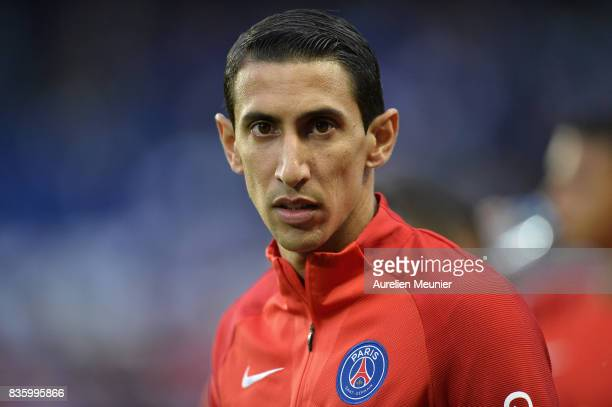 Angel Di Maria of Paris SaintGermain reacts during warmup before the Ligue 1 match between Paris SaintGermain and Toulouse at Parc des Princes on...